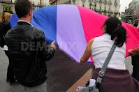 the bisexual flag during the international bisexual day in madrid