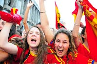 world cup - south africa - world cup 2010 - spain - spanish supporter - cheering fan - young girl cheering - chile