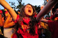 world cup - south africa - world cup 2010 - spain - spanish supporter - cheering fan - young girl cheering